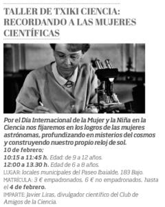 Taller de txiki ciencia: Recordando a las mujeres científicas (Aranguren) @ Locales municipales - Mutilva - Valle de Aranguren